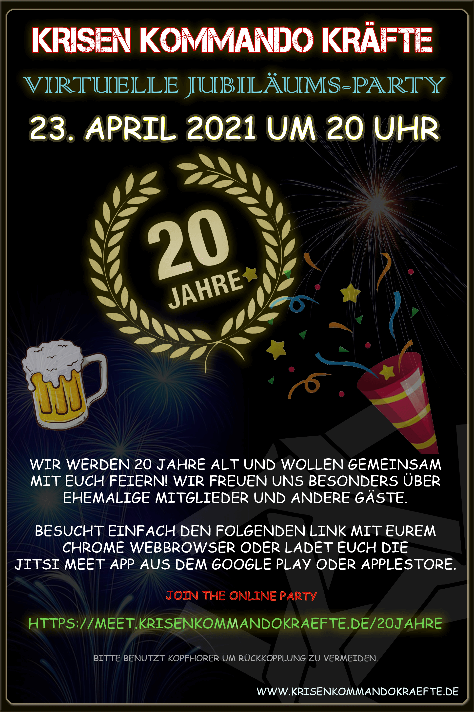 20 Jahre Krisen Kommando Kräfte - virtuelle Jubiläums-Party
